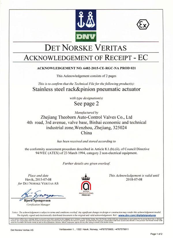 Certification Theoborn Auto Control Valvescod